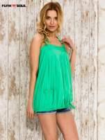 Zielony top damski na ramiączkach z guzikami
