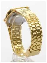 Złoty elektroniczny zegarek damski w stylu retro