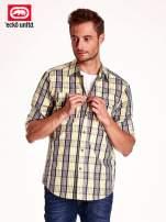 Żółta koszula męska w kratę
