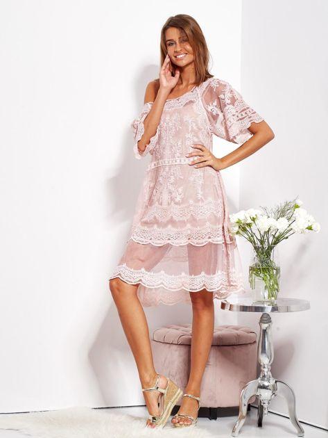 Pudroworóżowa luźna sukienka z oddzielną halką                              zdj.                              8