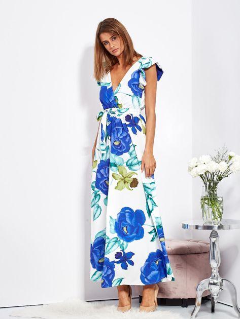 SCANDEZZA Biało-niebieska długa sukienka w kwiaty                              zdj.                              8