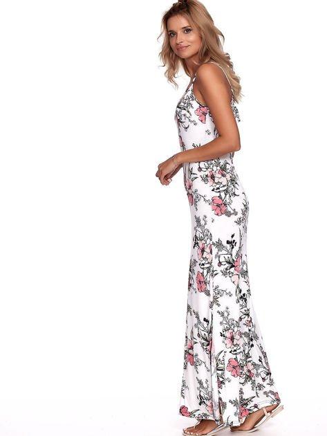 Biała kwiatowa sukienka maxi                              zdj.                              4