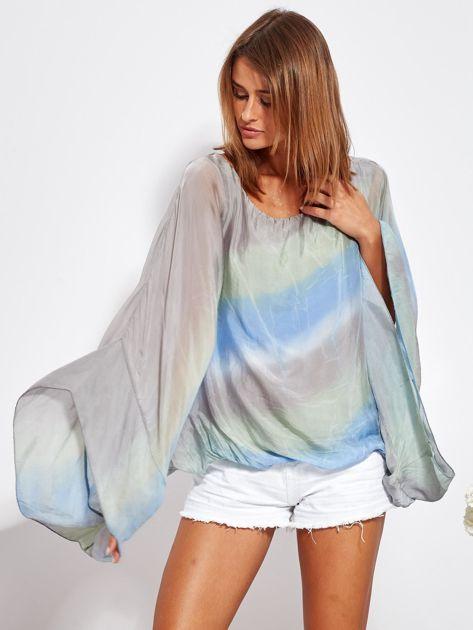 SCANDEZZA Niebiesko-szara zwiewna bluzka ombre                              zdj.                              2