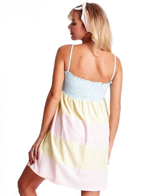 Sukienka damska na cienkich ramiączkach w kolorowe moduły                              zdj.                              2