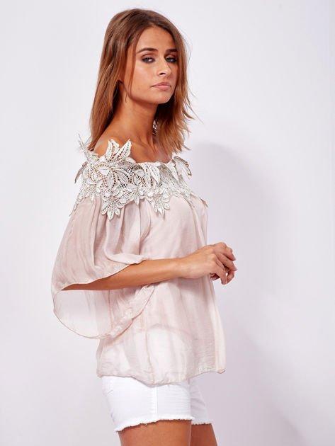 Różowa warstwowa bluzka hiszpanka z koronką                              zdj.                              3