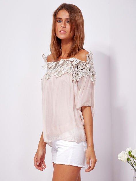 Różowa warstwowa bluzka hiszpanka z koronką                              zdj.                              5