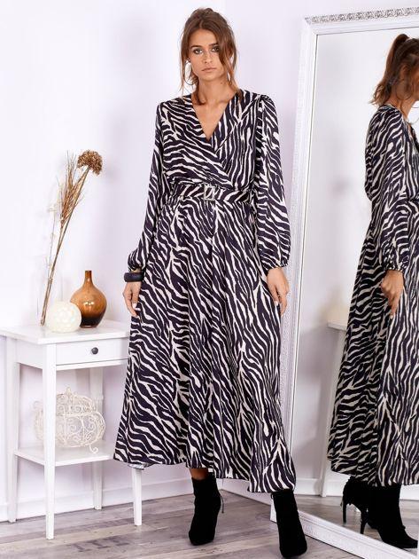 Czarno-beżowa sukienka maxi z nadrukiem pasków zebry                              zdj.                              4
