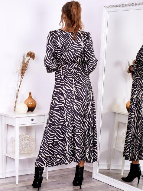 Czarno-beżowa sukienka maxi z nadrukiem pasków zebry                              zdj.                              2
