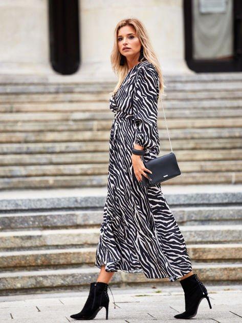 SCANDEZZA Czarno-beżowa sukienka maxi z nadrukiem pasków zebry                              zdj.                              6