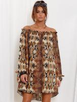 SCANDEZZA Brązowa sukienka hiszpanka oversize ze wzorem skóry węża                                  zdj.                                  1