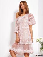 Pudroworóżowa luźna sukienka z oddzielną halką                                  zdj.                                  3