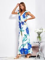 SCANDEZZA Biało-niebieska długa sukienka w kwiaty                                  zdj.                                  3