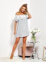 SCANDEZZA Biało-niebieska sukienka hiszpanka w cienkie paski                                  zdj.                                  4