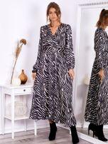 SCANDEZZA Czarno-beżowa sukienka maxi z nadrukiem pasków zebry                                  zdj.                                  4