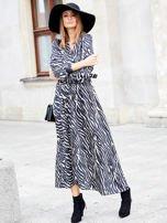 SCANDEZZA Czarno-beżowa sukienka maxi z nadrukiem pasków zebry                                  zdj.                                  1