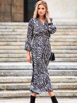 SCANDEZZA Czarno-beżowa sukienka maxi z nadrukiem pasków zebry                                  zdj.                                  7