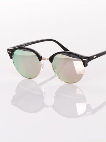 Czarne okulary przeciwsłoneczne lustrzanki srebrno/różowe  typu CLUBMASTER