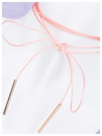 Naszyjnik delikatny różowy CHOKER długi złoty - HIT!