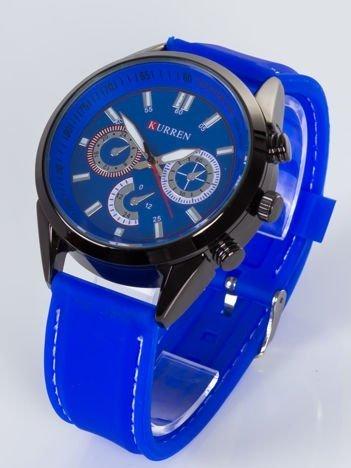 Nowoczesny i duży męski zegarek z 3 chronografami na tarczy. Pasek JELLY .