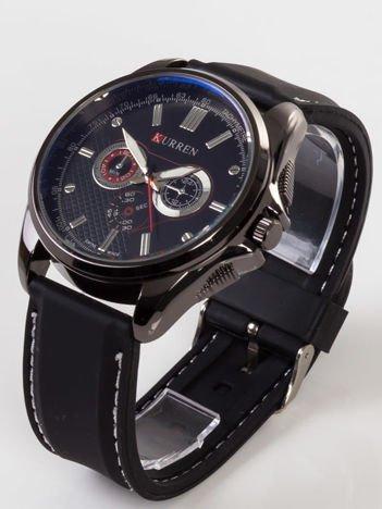 Nowoczesny i duży męski zegarek z 3 chronografami z czarną tarczą