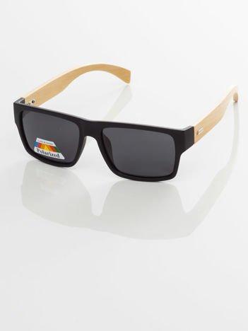 POLARYZACYJNE  męskie okulary przeciwsłoneczne - drewniane zauszniki  +GRATISY