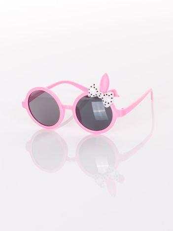 ZAJĄCZEK Z KOKARDĄ Dziecięce jasno-różowe okulary  z filtrami,odporne na wyginania