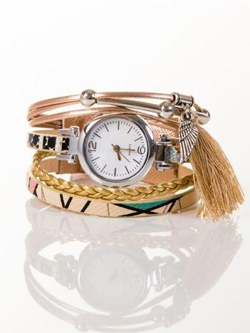 Złoty zegarek damski  z zawieszkami chwost i skrzydło