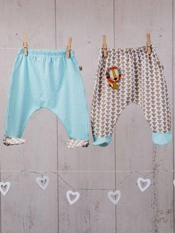 2-elementowy zestaw bawełnianych półśpiochów niemowlęcych dla chłopca i dziewczynki beżowo-miętowy