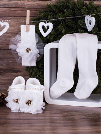 3-elementowy komplet wizytowy dla dziewczynki z białymi kwiatuszkami