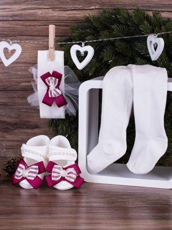 3-elementowy komplet wizytowy dla dziewczynki z fioletową kokardką biały