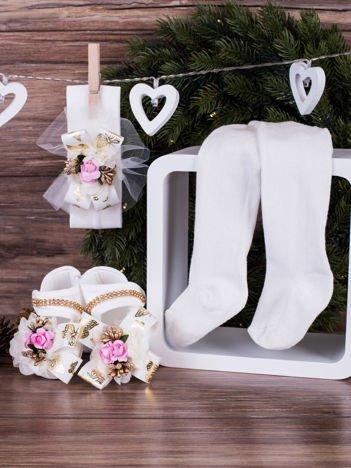 3-elementowy komplet wizytowy dla dziewczynki ze złotym kwiatuszkiem biały