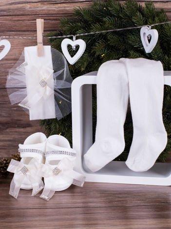 3-elementowy niemowlęcy komplet wizytowy dla dziewczynki z białą kokardką, biały