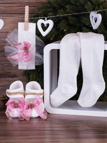 3-elementowy niemowlęcy komplet wizytowy dla dziewczynki z różową kokardką, biały