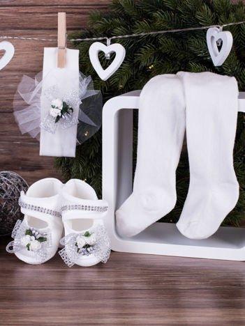 3-elementowy niemowlęcy komplet wizytowy dla dziewczynki z srebrną kokardką, biały