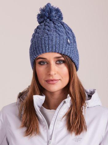 4F Granatowa melanżowa czapka zimowa z pomponem
