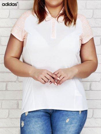 ADIDAS Biała koszulka polo z graficznymi wstawkami