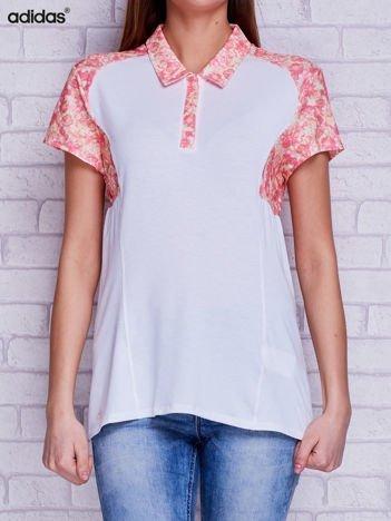 ADIDAS Biała koszulka polo z kwiatowymi wstawkami