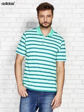 ADIDAS Miętowa koszulka polo męska w paski