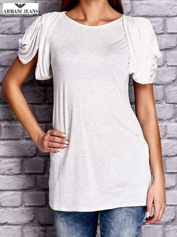 ARMANI Jasnoszary t-shirt z drapowanymi rękawami