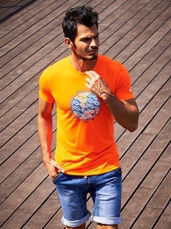ASICS Fluopomarańczowy t-shirt męski sportowy z tenisowym nadrukiem
