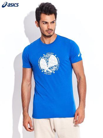 ASICS Niebieski t-shirt męski sportowy z tenisowym nadrukiem