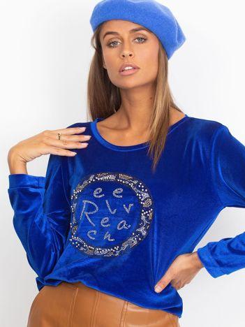 Aksamitna bluza z aplikacją niebieska