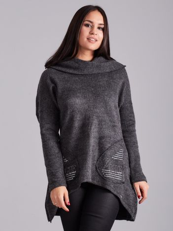 Asymetryczna bluza z kapturem ciemnoszara