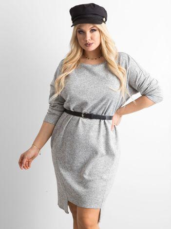 Asymetryczna sukienka plus size jasnoszara