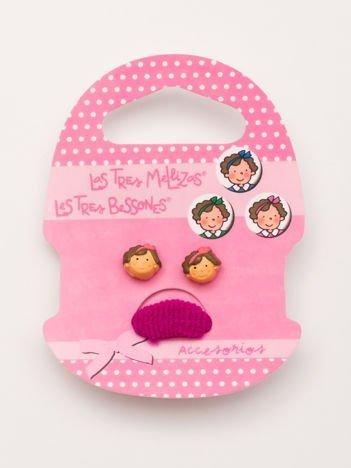 BAJKOWE TROJACZKI Zestaw kolczyki + różowa gumka do włosów dla dziewczynki