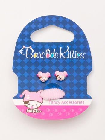 BARCODE KITTIES Zestaw kolczyki + jasnoróżowa gumka do włosów dla dziewczynki