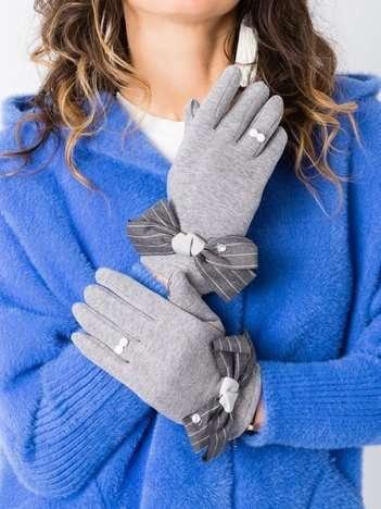BEAUTY ITALY bawełniane dotykowe rękawiczki damskie z kokardą