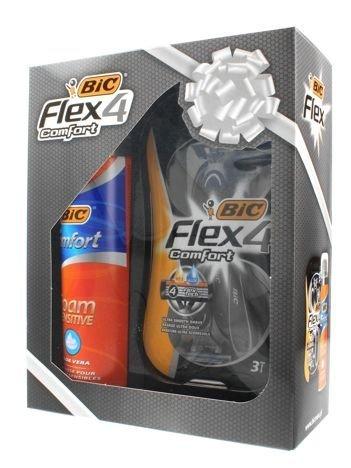 BIC Zestaw prezentowy Flex 4 Comfort (maszynka 3szt+pianka do golenia Sensitive 250 ml)