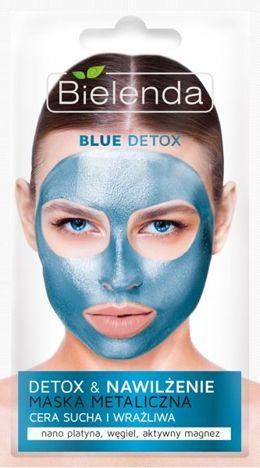 BIELENDA Blue Detox Maska Metaliczna nawilżająca cera sucha i wrażliwa 8 g