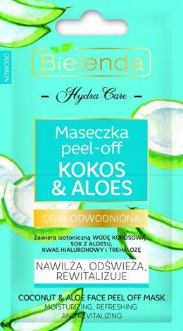 BIELENDA HYDRA CARE Nawilżająca maseczka PEEL-OFF Kokos & Aloes 2 x 5 g